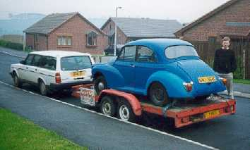 Car on trailer after purchase