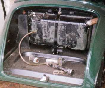 Petrol tank in boot