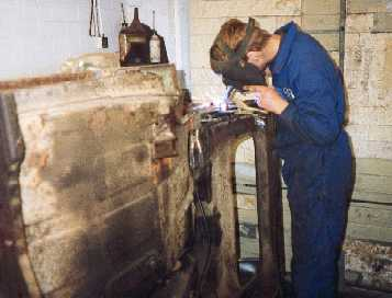 Welding in chassis leg