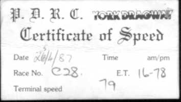 First timing slip for 2000cc car