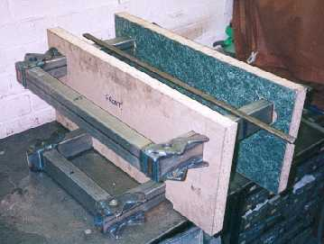 Front module in  chipboard alignment jigs